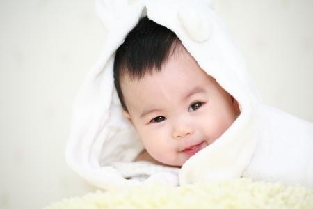 nato: chiudere, su, carino asia bambino