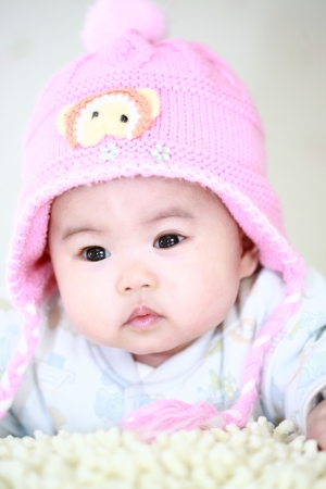 close up of cute asia baby