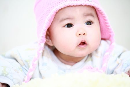 asian baby girl: close up of cute asia baby