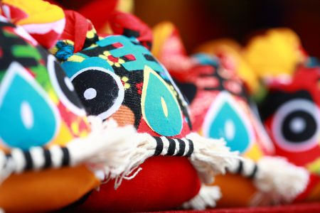 Traditional chinese lucky knots with traditional handicraft cloth Tiger
