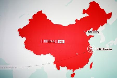 mapa china: la ubicaci�n de Shanghai y Beijing en el mapa chino Editorial