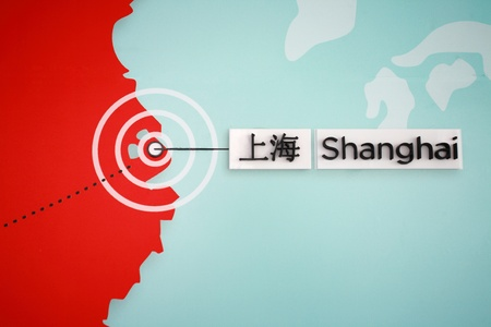 chinese map: the location of Shanghai on the chinese map Editorial