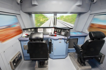 Internal details of the cockpit of modern trains