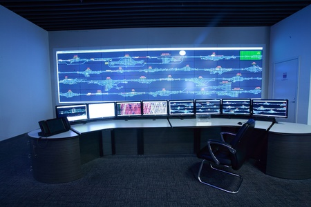 Modern electronic technology inside the control room Stock Photo - 12591195