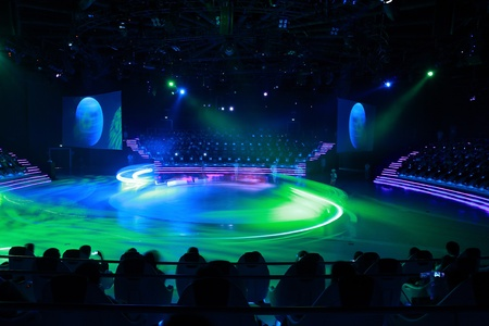studio lighting: Stage lights - Studio prepared for production Editorial