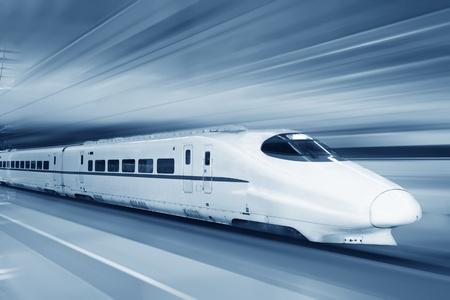 modern train: Fast train with motion blur