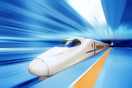 Fast train with motion blur  Stock Photo - 12591297