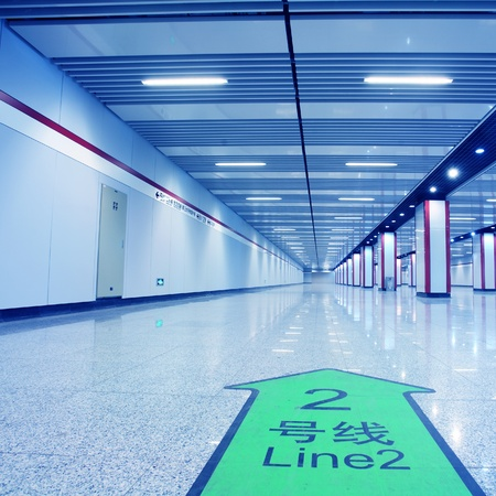 interior of subway station with nobody