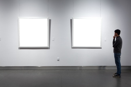 art exhibition: frames on white wall