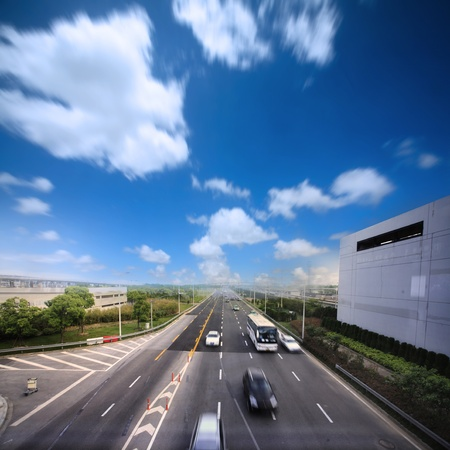 high way with blue sky Stock Photo - 12591347