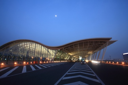 pudong: modern building at pudong airport in shanghai