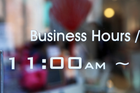 business hours on glass door