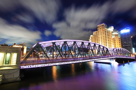 waibaidu bridge in shanghai at night