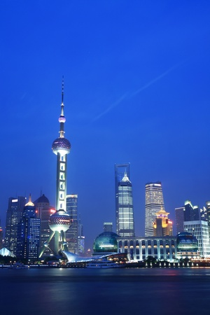 nigth city scene of shanghai