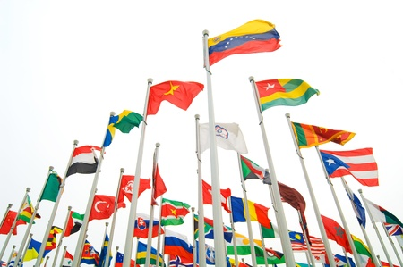 commonwealth: Many countries flag flying with sky Editorial