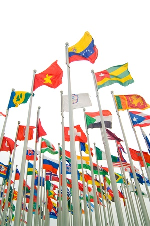 commonwealth: Many countries flag flying with sky Stock Photo