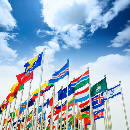Many countries flag flying with sky photo