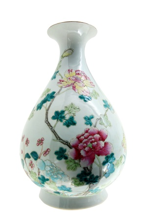 Antique Chinese Vase Isolated Over White Stock Photo Picture And