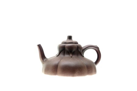 ceramic bottle: The chinese teapot on white background Stock Photo