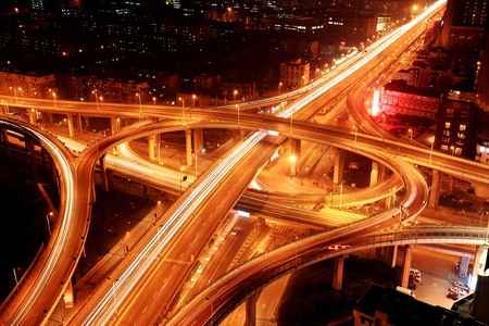 A road junction at night in Hangzhou photo