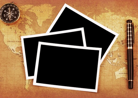 A blank card on a Treasure map background  photo