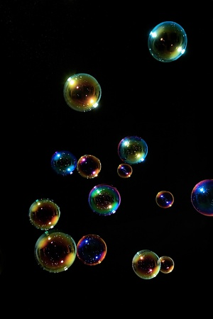soap bubbles: Soap bubbles on black background