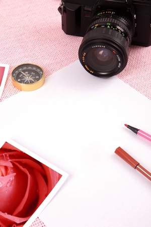 Clutter of objects stacked on pink background Stock Photo - 13419009