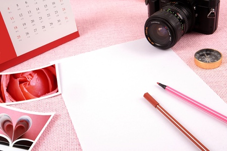 Clutter of objects stacked on pink background Stock Photo - 13417263