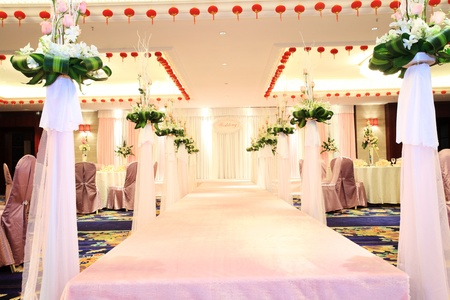 Romantic wedding scene and stage