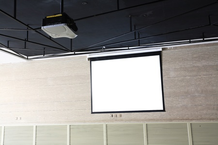 overhead: meeting room with Projection screen