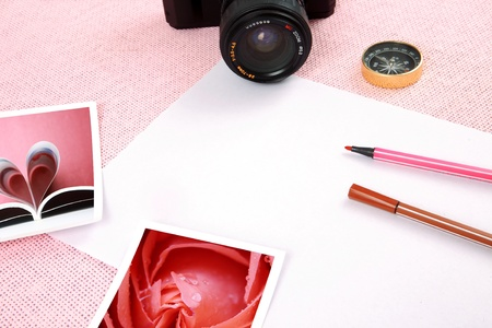 Clutter of objects stacked on pink background Stock Photo - 13449658