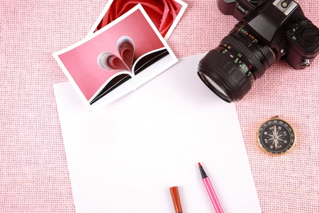Clutter of objects stacked on pink background Stock Photo - 13465339