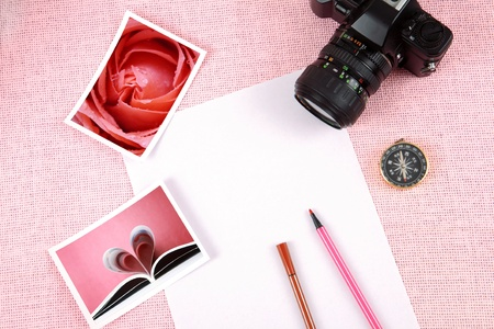 Clutter of objects stacked on pink background Stock Photo - 13497317