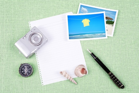 A pile of clutter items on green background Stock Photo - 13493699