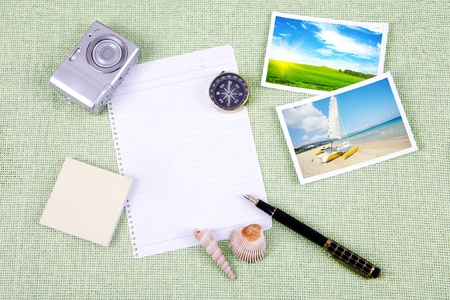 A pile of clutter items on green background Stock Photo - 13493983