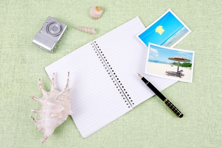 A pile of clutter items on green background Stock Photo - 13494499