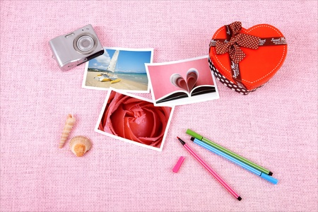 clutter: Clutter of objects stacked on pink background
