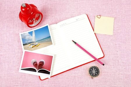 Clutter of objects stacked on pink background Stock Photo - 13494043