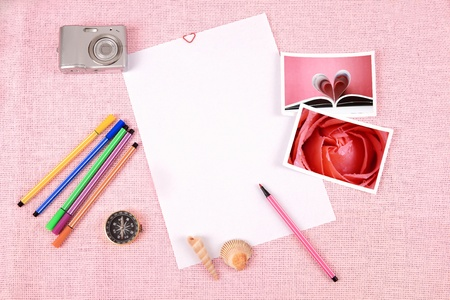 Clutter of objects stacked on pink background Stock Photo - 13493511