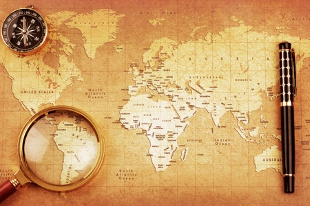 An Magnifier on a Treasure map background  Stock Photo - 13537723
