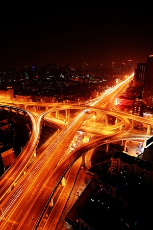 A road junction at night in Hangzhou Stock Photo - 13573038