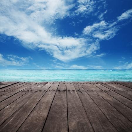 peaceful background: platform beside sea