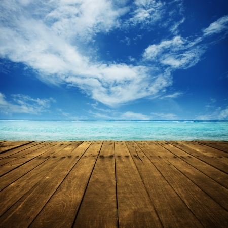 platform beside sea photo