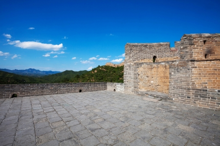 The Great Wall of China  with blue sky at Sunny Day photo