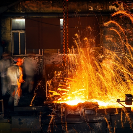 hearth: Pouring of liquid metal in open hearth workshop