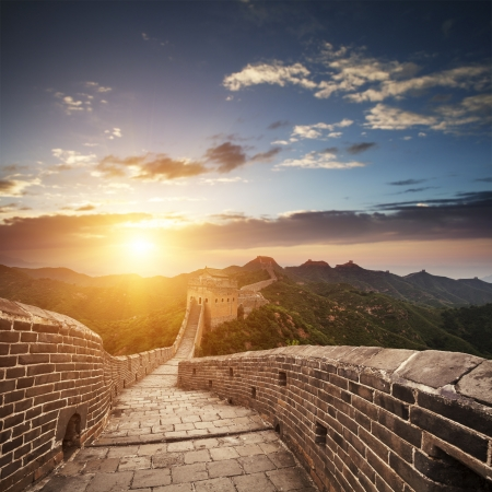 famous place: greatwall the landmark of china and  beijing