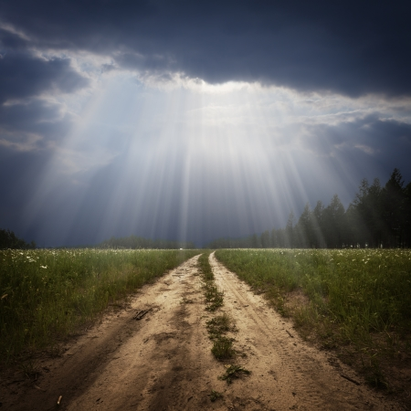 beautiful jesus: Rural road and the god ray