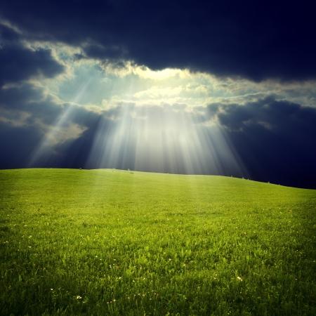 Jezus: Zielone pole z Jezusem świetle Zdjęcie Seryjne