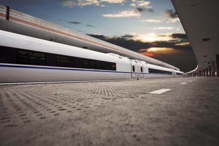 train throgh railway station in china photo
