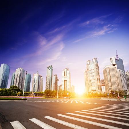 cityscape of modern city,shanghai with blue sky photo